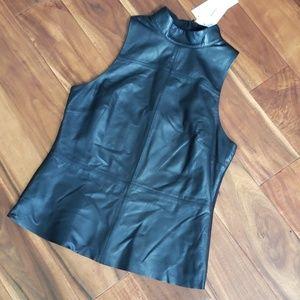 NWT DKNY women's Lamb leather Vest M Black